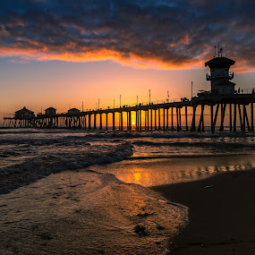 Waves at Sunset by Tim Davies - Buildings & Architecture Bridges & Suspended Structures ( sand, orange, sunset, waves, dramatic, calif, pier, beach, huntington )