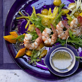 Shrimp Skewers and Salad