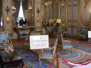 Photo: The The Salon des Ambassadeurs, per the name, is the room where the French President traditionally receives the credentials of foreign diplomats. The room is filled with fine traditional furnishings, although the carpet is of much more recent vintage, having been woven in 1990 in the workshops of the Manufacture Nationale de la Savonnerie (historically, the most prestigious European producer of knotted-pile carpets).