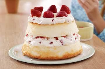 Strawberries and Cream Angel Food Cake