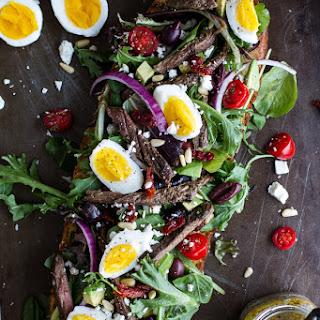 Greek Steak Salad French Bread with Soft Boiled Eggs + Feta..