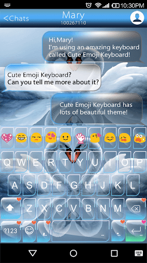 Swan Heart Emoji Keyboard Skin