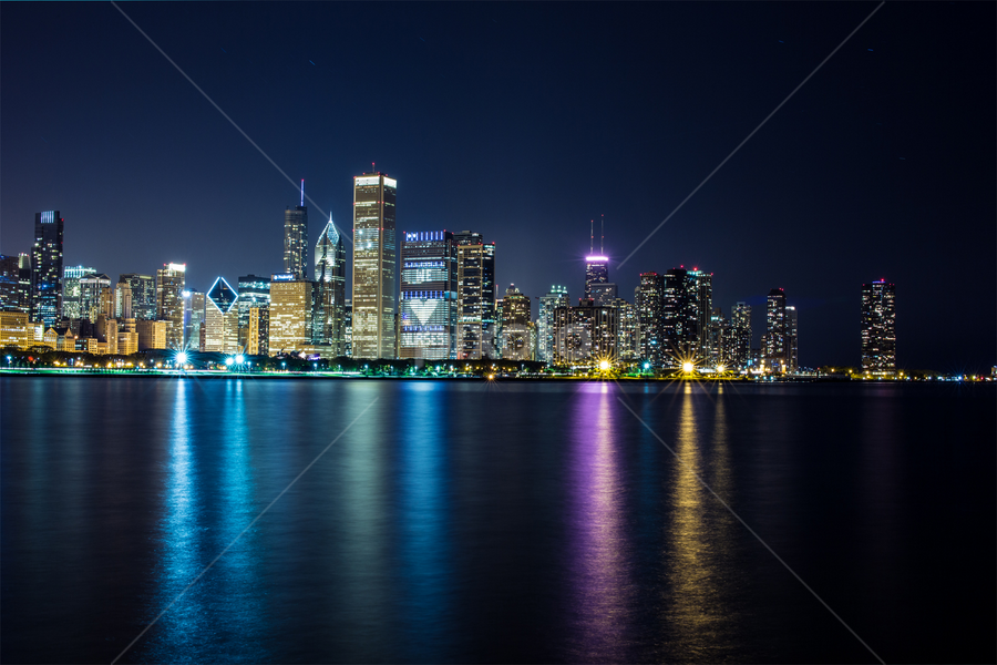 Chicago Skyline by Theo Si-atat - Buildings & Architecture Other Exteriors ( water, reflection, michigan lake, ocean, chicago,  )