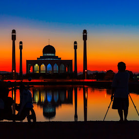 Central Masjid of Songkhla by Ronnel Masangkay - Landscapes Travel ( lights, landmark, color, silhouette, colors, night, object, travel, filter forge, landscape, portrait, , blue, orange. color )
