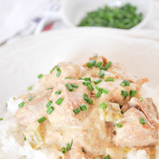 Slow Cooker Cream Of Asparagus And Pork Tenderloin Casserole.