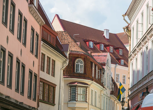 tallinn-buildings-closeup.jpg - A look at the charming architecture along a busy street in Tallinn.