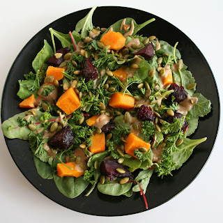 Roasted Beet and Butternut Squash Salad with Maple Tahini Dressing.