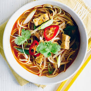 Red Thai curry noodle soup.