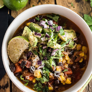 Black Bean and Corn Chili with Avocado Salsa