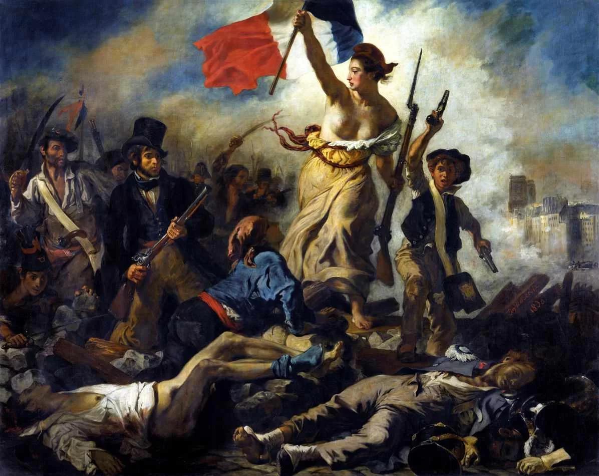 Pintura de Eugène Delacroix. A liberdade é uma mulher que segura uma bandeira francesa e guia os revolucionários.