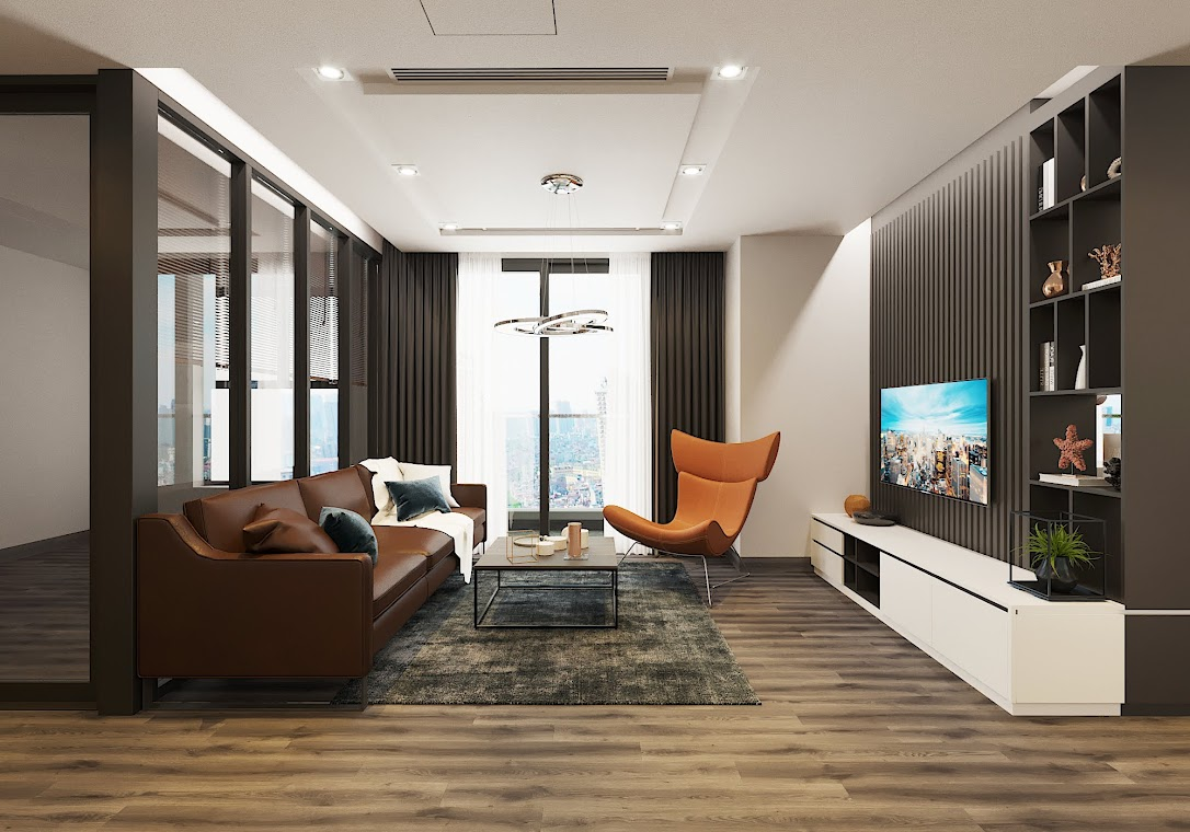 Phòng khách căn hộ chung cư Vinhomes Green Bay - Mễ Trì sử dụng nội thất Eurowindow.