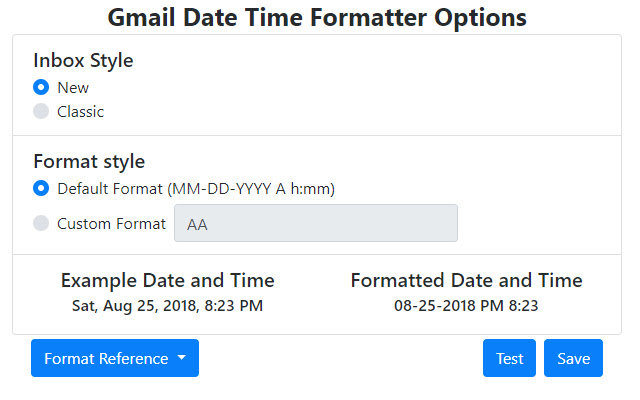 Gmail Date Time Formatter