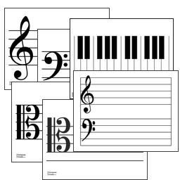 Printable Music Staves and Keyboards