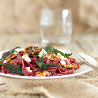 Beetroot Spelt Pasta with Sage, Walnuts & Blue Cheese