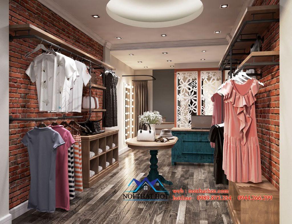 thiết kế shop thời trang nữ cũ và cổ điển với màu trầm ấm