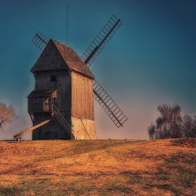 windmill on the hill by Tomasz Marciniak - Buildings & Architecture Public & Historical ( hill, trees, windmill,  )