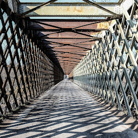 embroidering by Luigi Alloni - Buildings & Architecture Bridges & Suspended Structures ( iron bridge light and shadows, perspective embroidering ticino tornavento italy luigialloni )