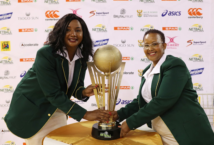 Netball South Africa President Cecilia Molokwane (L) with former sports minister Tokozile Xasa (R) during the Brutal Fruit Netball Premier League at Ellis Park Arena in Johannesburg in May 2018.