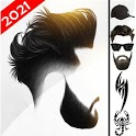Men Hairstyle 2020 with beard, Mustache, tattoo icon