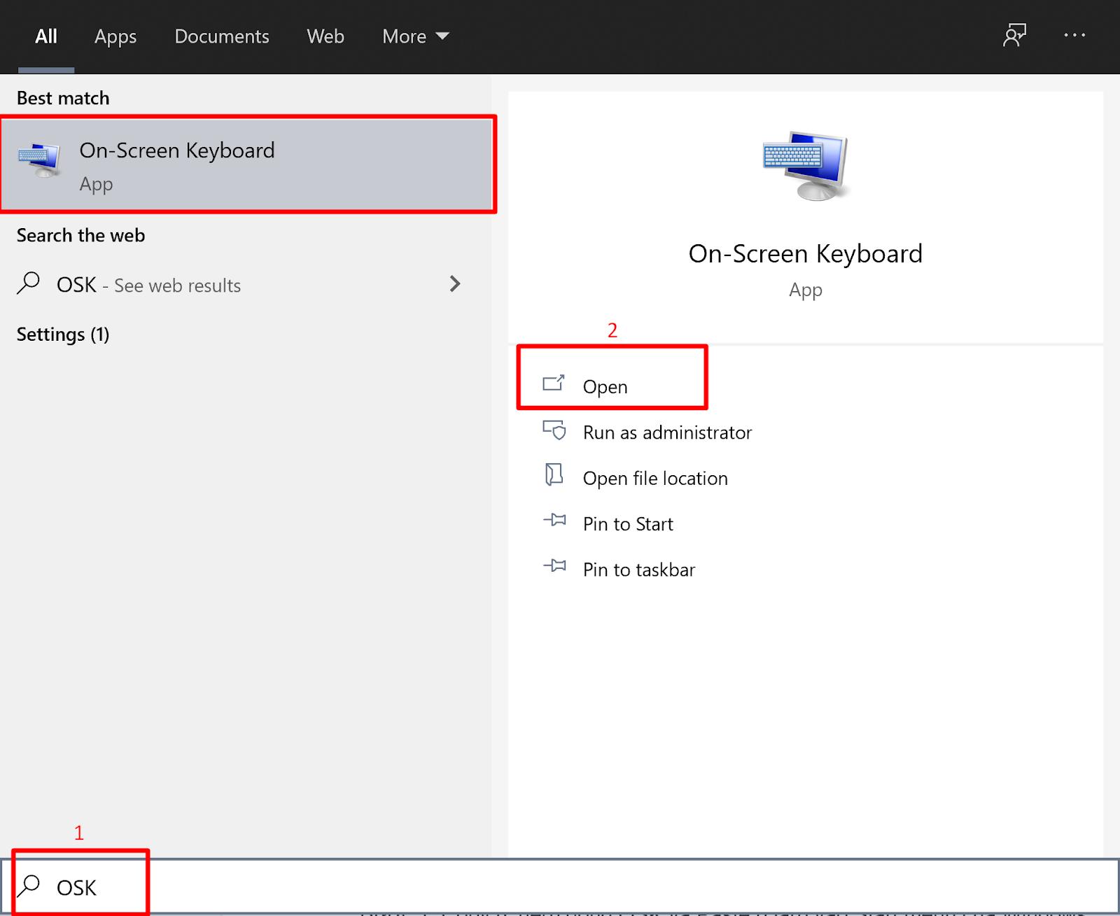 Click tìm kiếm OSK trên thanh tìm kiếm Start menu để mở bàn phím ảo | Nguyễn Kim