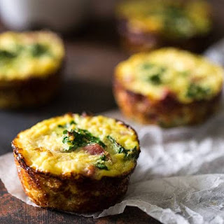 Egg Muffins with Ham, Kale and Cauliflower Rice {Paleo, High Protein + Super Simple}.