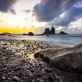Roque Benijo and Anaga Mountains in Tenerife by Frederik Schulz - Landscapes Sunsets & Sunrises ( sunset, atlantic, rocks, canaries, spain )