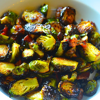 Grilled Brussel Sprouts with Bacon and Mustard Vinaigrette.