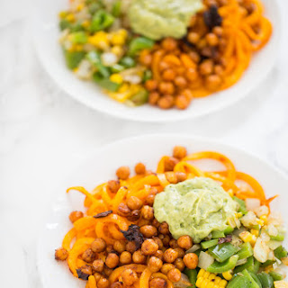 Tex-Mex Spiralized Butternut Squash with Crispy Chipotle Chickpeas.