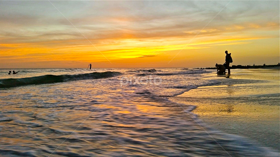 { Sunset Beach ~ Paddle Surfer with friends }  by Jeffrey Lee - Landscapes Beaches ( { sunset beach ~ paddle surfer with friends } )