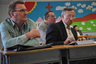 Photo: Stephen Rudolph (Lutheran Education Australia), Darrell Van Luchene (formerly of Asia Lutheran Education Association) and Jon Laabs (Lutheran Education Association) attending a breakout session at the ALEA conference.