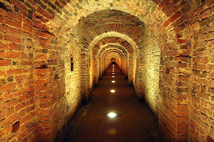 An underground passageway at the Peter and Paul Fortress, a UNESCO World Heritage site.