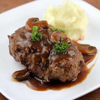 Salisbury Steak with Mushroom and Wine Sauce.