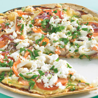 Smoked Salmon, Tomato and Feta Pizza