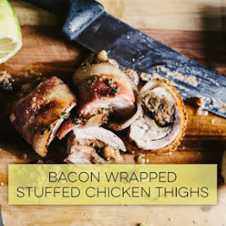 Bacon Wrapped Stuffed Chicken Thighs.