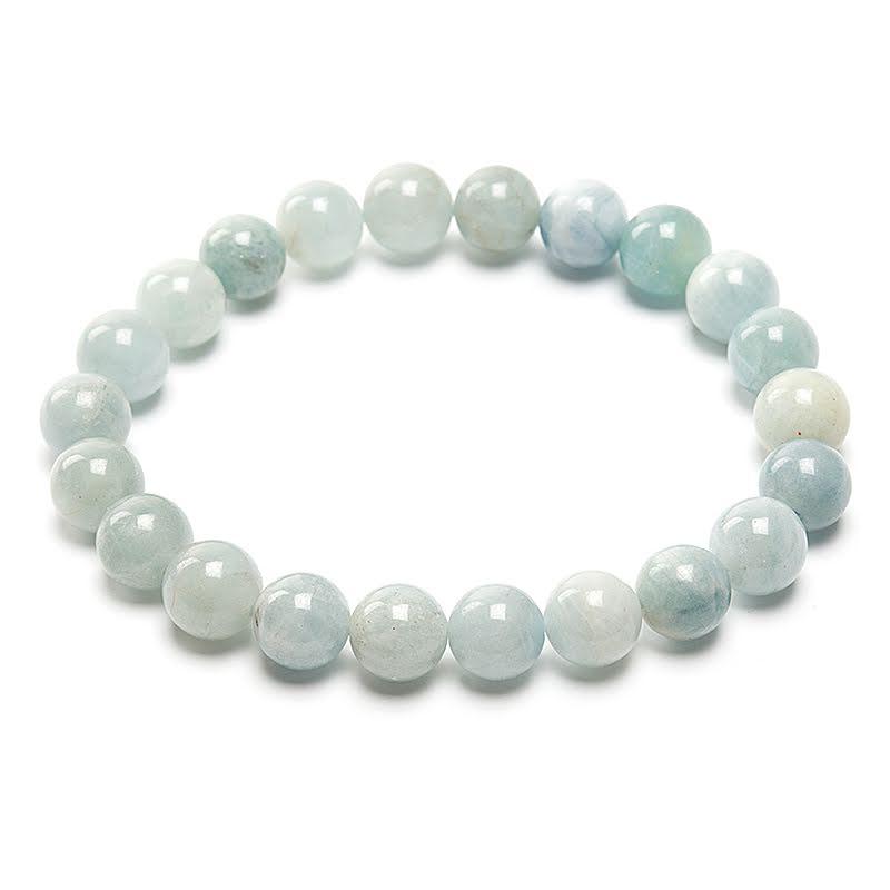 Akvamarin armband runda pärlor