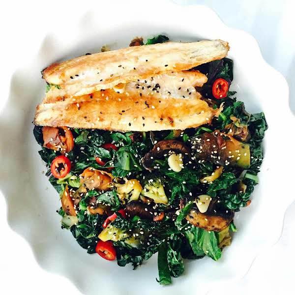 Cavolo Nero And Kale Sea Bass Stir Fry Recipe