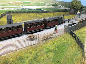 "Photo: 123 On an ""album"" type layout, correct gauge is less important than realistic train formations which do not clash with others in use, although in this feature of a Victorian Talyllyn train arriving at Garreg Wen the 9mm gauge of the layout is exactly correct for the 2ft 3in Talyllyn track gauge ."