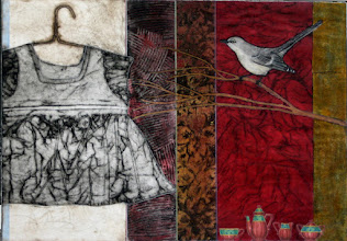 """Photo: Raleigh Bird, 18 x 25"""", collagraph with collage, a la poupee with some hand coloring"""
