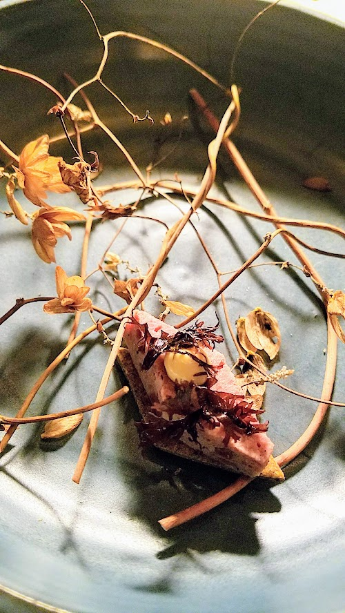 Langbaan PDX Chefs Who Inspire Dinner with Justin Woodward, snack of Antelope pate with beef heart remoulade and seaweed cracker, artfully plated