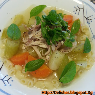 Chicken Macaroni Soup with Lemongrass and Ginger.
