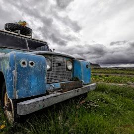 Blue Rover by Þorsteinn H. Ingibergsson - Transportation Automobiles ( automobile, sky, nature, car, þorsteinn h ingibergsson, structor, iceland, clouds, abandoned, landscape, land rover )