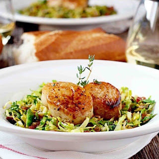Seared Scallops on Shaved Brussels Sprouts and Crispy Pancetta