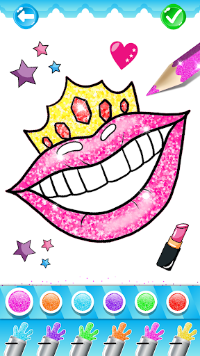 Glitter Lips with Makeup Brush Set coloring Game screenshot 3