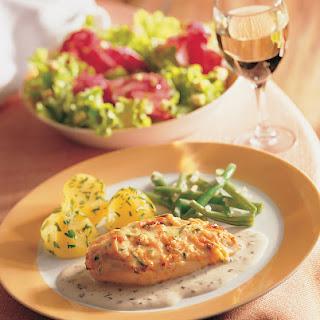 Hühnerschnitzel mit Zwiebelrahmsauce