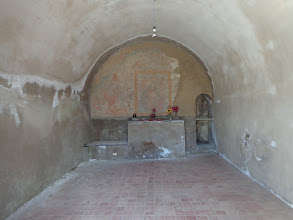 Photo: Rediscovered mediaeval fresco of Virgin & child in St Biagio chapel