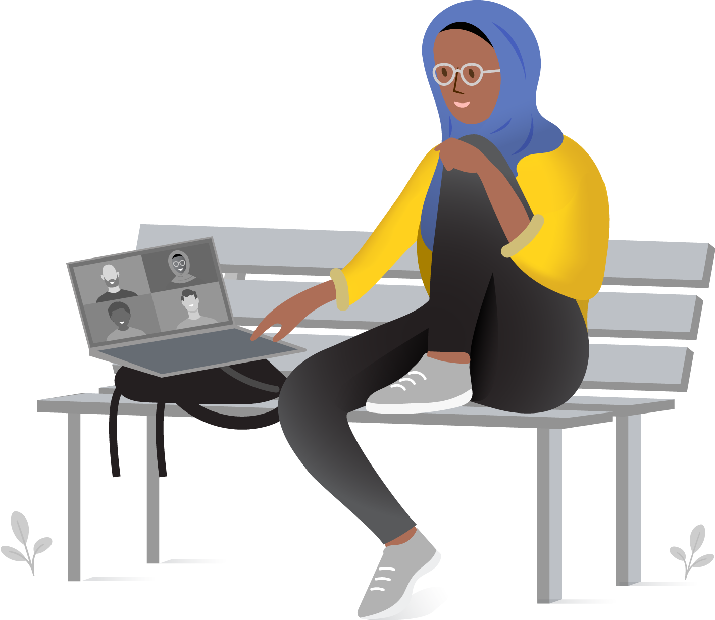 Woman on bench in virtual meeting