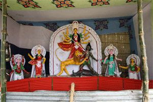 Photo: Durga Puja (দুর্গা পূজা, 'Worship of Durga'), also referred as Durgotsab (দুর্গোৎসব, 'Festival of Durga')