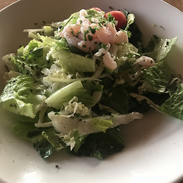 Salad with shrimp (subbed with Vinaigrette for GF version)
