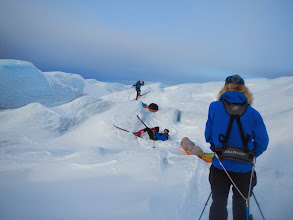 Photo: Icy icefall, a challenge to the three of us not born with skis on (Photo Frode Faksvaag)