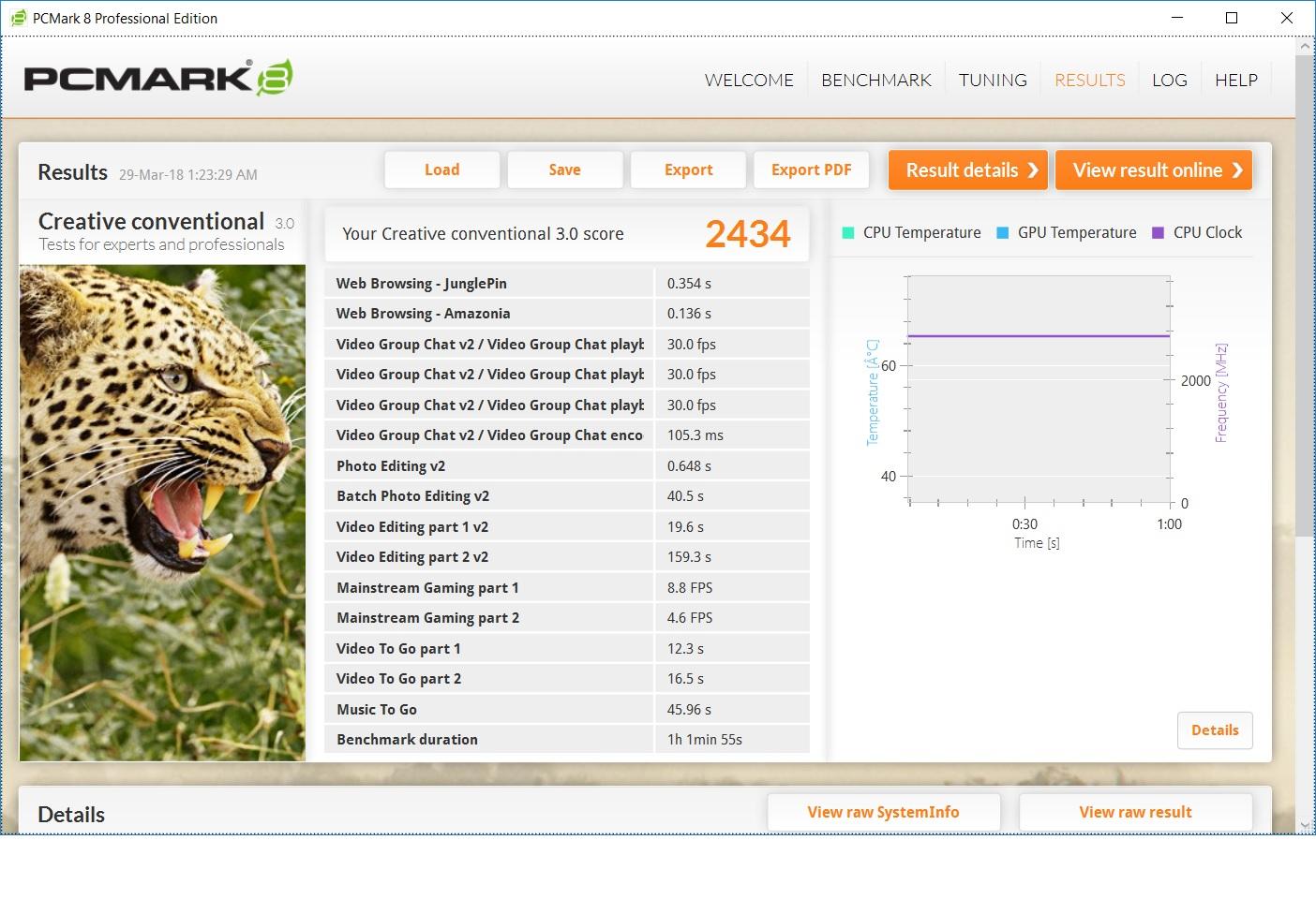 Hasil benchmark dengan aplikasi PCMARK